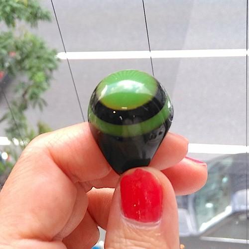 BAKELITE ブラック x グリーン ベークライト ラミネートリング