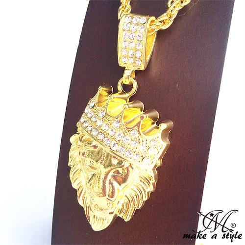 ブリンブリン クラウン ライオン GOLD ゴールド 金 ネックレス ヒップホップ HIPHOP 363