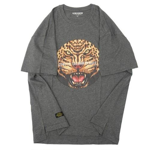 送料無料メンズ大きいサイズアニマル豹プリントグレーTシャツ