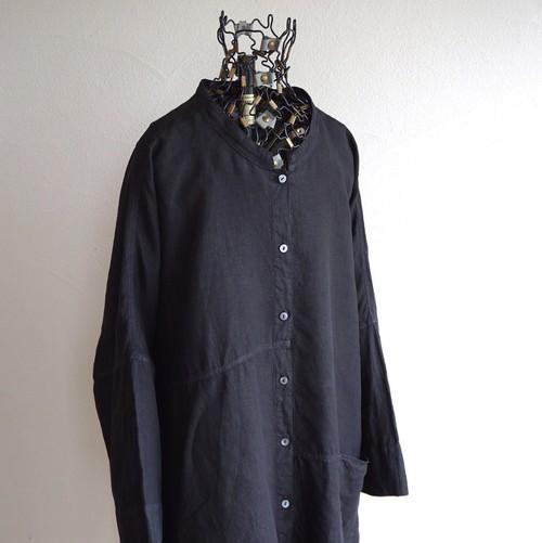 [OSKA] women's デザインリネンシャツ ブラック 実寸(WMS Free)