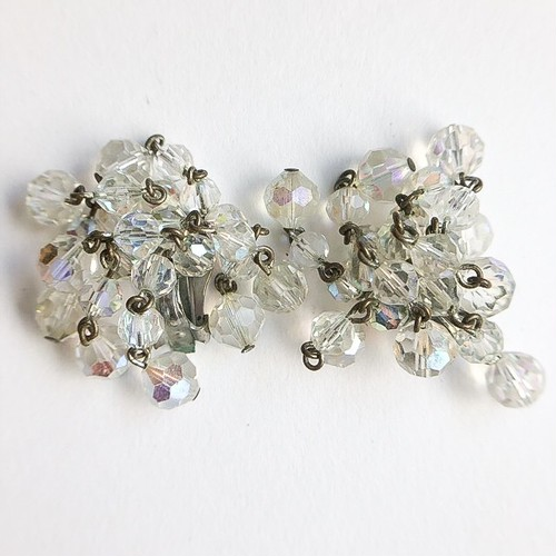 clear beads cluster earring[e-998]