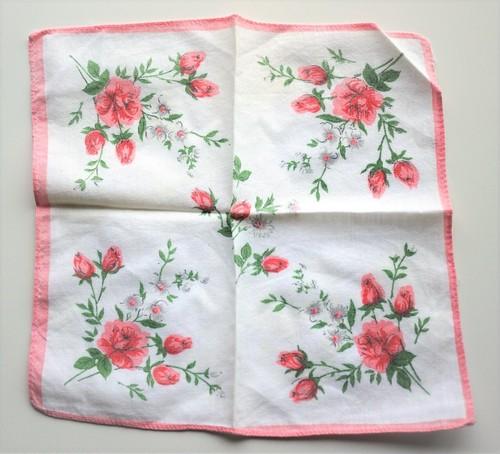 ヴィンテージハンカチ イギリス 薔薇プリント フラワープリント