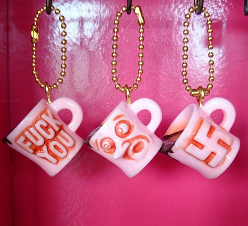 Coffee cup key chain / pink