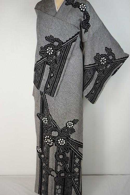 美品 総絞り 訪問着 京鹿の子絞り 花柄 熨斗 正絹 黒白 グレー 469