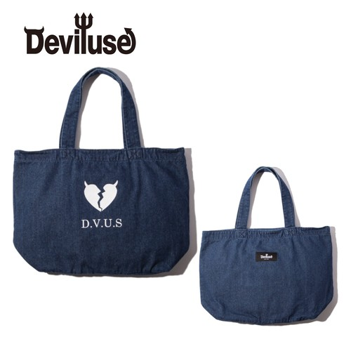 Deviluse(デビルユース) | Heartaches Denim Tote Bag (indigo)