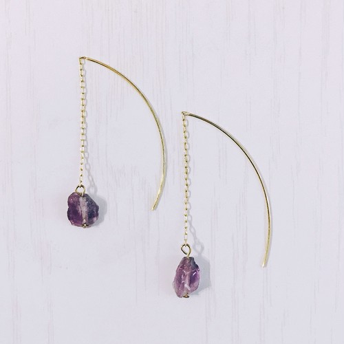 Amethyst chain earrings