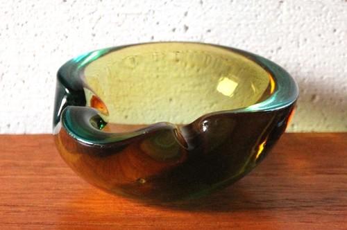 60年代~70年代 イタリア・ムラーノ ベネチアン・グラス アッシュトレイ 小物入れ ブラウン×グリーン