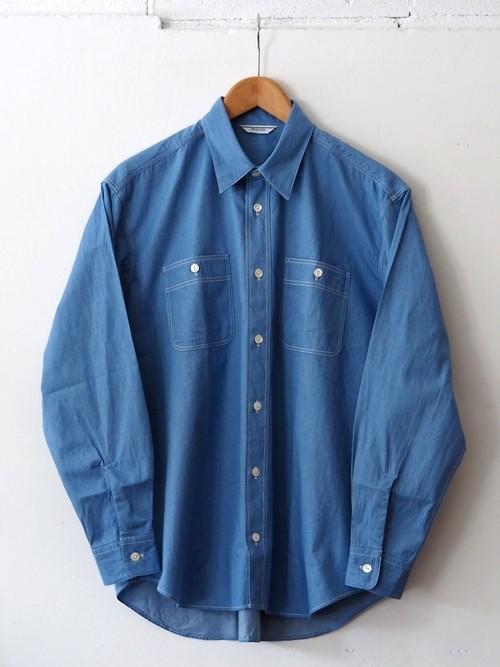 FUJITO B/S Work Shirt Light Indigo,Indigo Blue