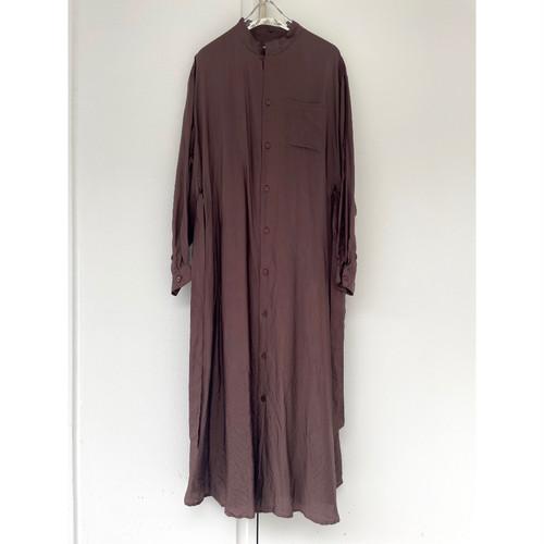【hippiness × Sakurako.】cupro workdress(brown)/ 【ヒッピネス × サクラコ.】キュプラ ワークドレス( ブラウン)