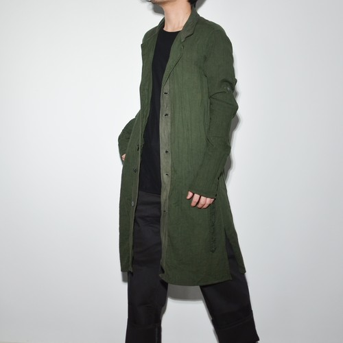 "Leather×Cotton ""Coat""- Moss Green"