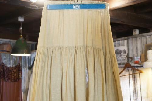 80's linen gauze tiered maxi Skirt