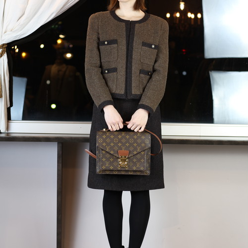 .CHANEL BOUTIQUE 96 P COCO MARC BUTTON TWEED SET UP MADE IN FRANCE\シャネルブティックココマークボタンツイードセットアップ 2000000045009