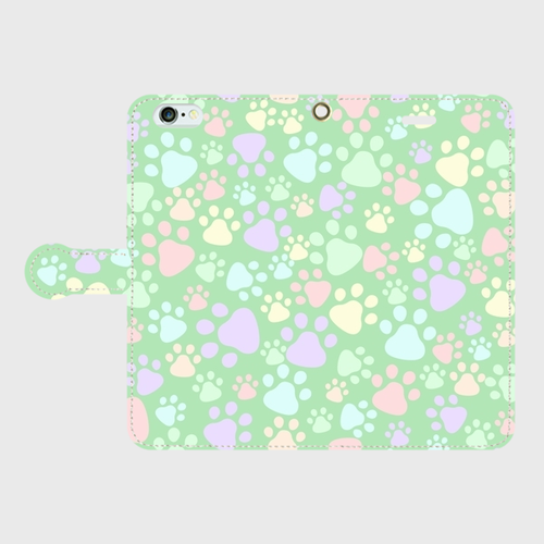 スマホケース Lサイズ(iPhone・Android対応) 【肉球柄グリーン】