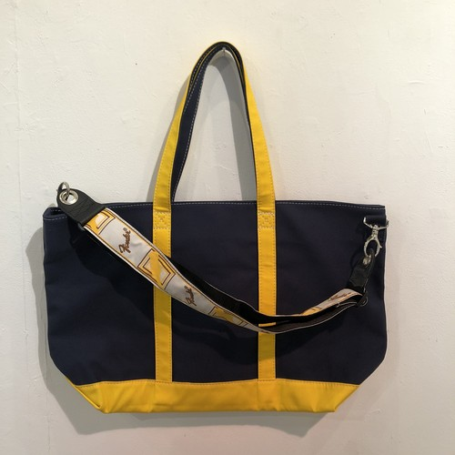 """LARGE STRAP TOTE """"DUNK"""" (NAVY x YELLOW)"""