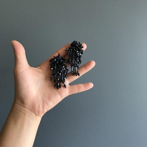 【import accessory】 ブラック 花火 ピアス