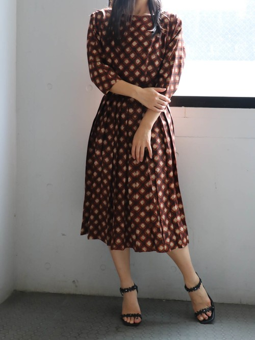 50's brown  check dress