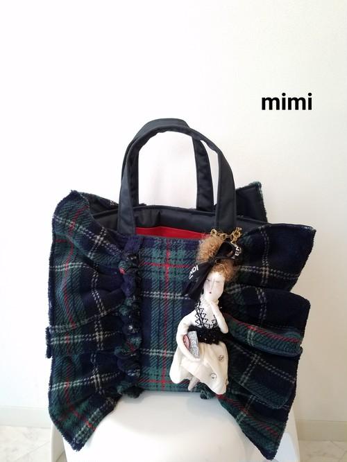 mimi☆フリルトートバッグ☆グリーンタータン☆マチS