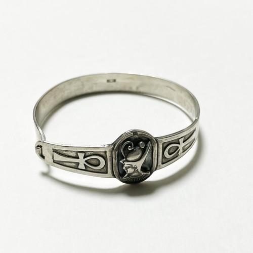 1940's Vintage 800 Silver Cleopatra & Ankh Bracelet Made In Egypt