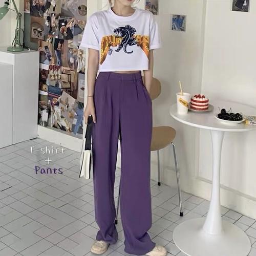 ショートTシャツ&パープルパンツ U3903