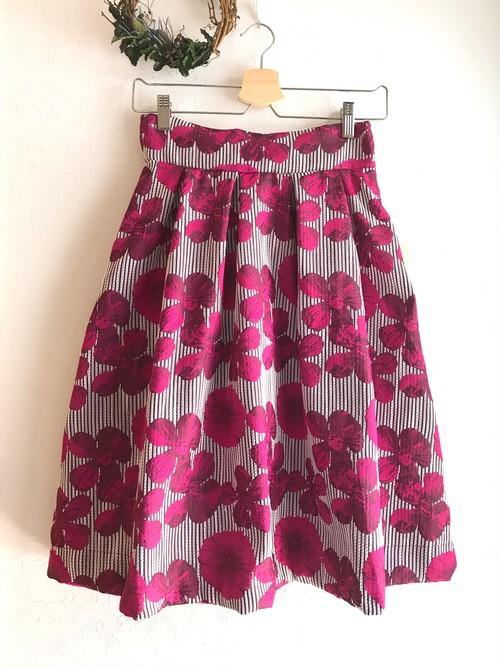 再入荷★二種類の花柄の上品フレアスカート ピンク