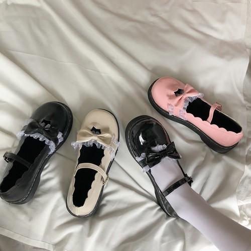 ロリータストラップシューズ ロリータ フリル リボン かわいい ガーリー フェミニン 靴 韓国