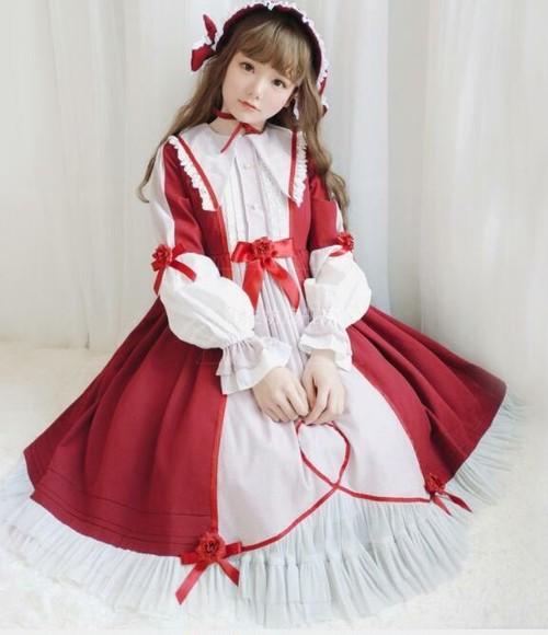 9931ロリータ衣装 ロリータ服 レディース 可愛い 少女風 Lolita ワンピース レトロ 赤