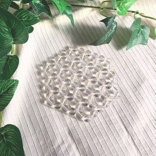 天然石  水晶AAA8mm X 3段 ヘキサゴン浄化マット