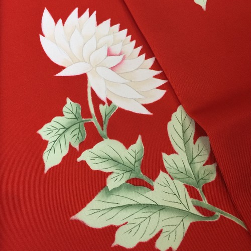 〈朱赤 塩瀬の名古屋帯〉白菊の花 手描き 送料無料