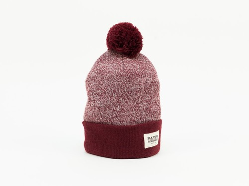 TIGHT KNIT CONTRAST POM POM BEANIE - BURGUNDY