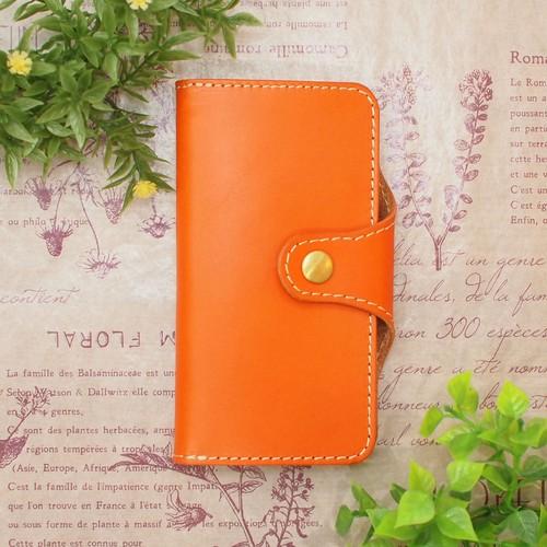 オレンジのロールキャベツ/姫路レザー牛本革 iphone XPERIAなど全機種 R-04