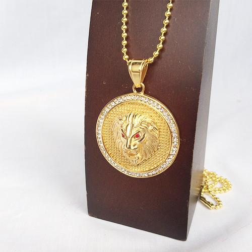 ライオン コイン ボールチェーン 金 ゴールド ネックレス ジルコニア ラインストーン 1899