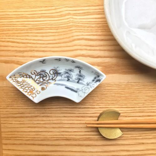 豆皿  山水文扇形皿
