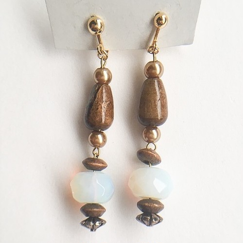 wood beads earring[e-976]