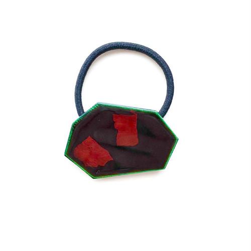 飛騨春慶塗 ヘアゴム 緑箔(H015)