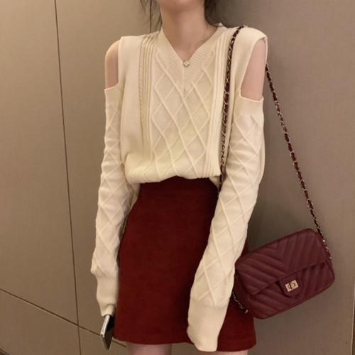 【トップス】長袖ショート秋冬新作韓国風ファッションVネックニットセーター