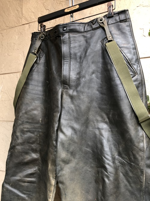 〜1950s German black leather motorcycle trousers with suspender