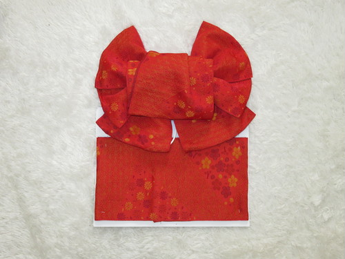 【販売】蝶結び飾り帯 10 (赤小花)