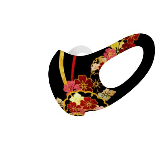 2021桜家紋Black 和柄ファッションマスク Sサイズ