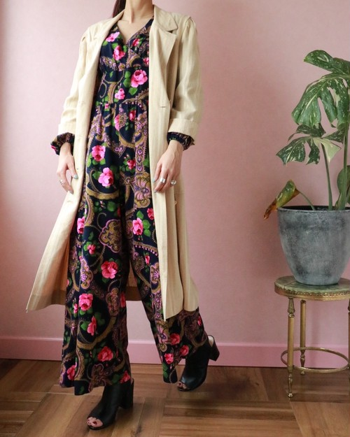 70's Rose print all-in-one