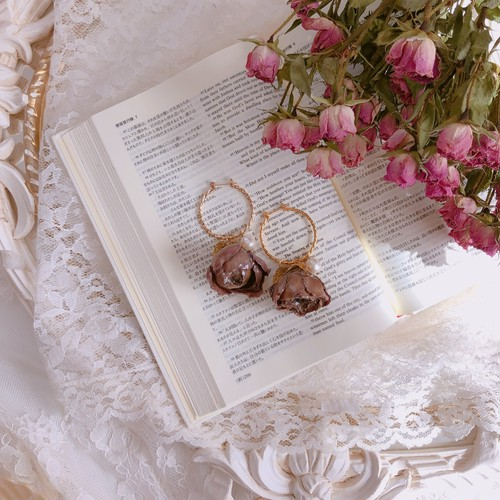 Antique Rose & Gold Leaf _  Hoop pierced