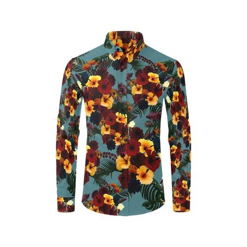 ハイビスカスBlue メンズサイズ長袖シャツ