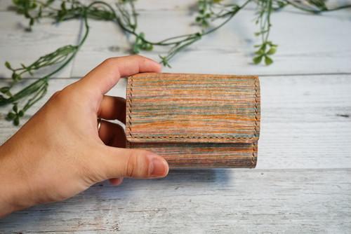 着物の染色技法で革を染めた三つ折りミニ財布 no,16