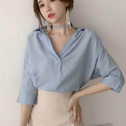 【トップス】夏ファッション無地スウィートルーズ折り襟 Vネック五分袖シャツ