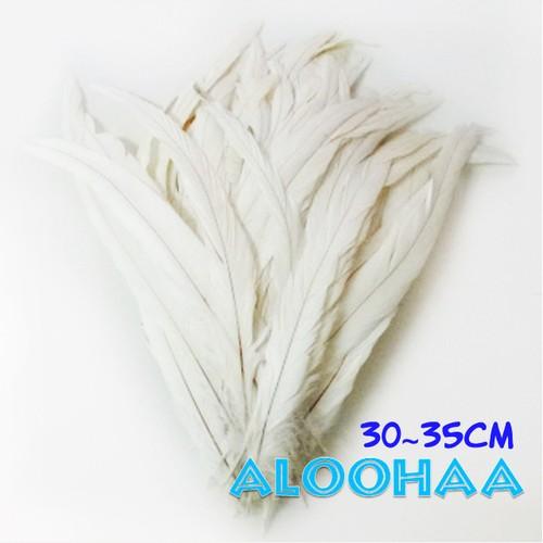 ロングフェザー【白(ナチュラル)】30-35cm #30-001NW30-CT 10本 DIY 羽 衣装材料 タヒチアン