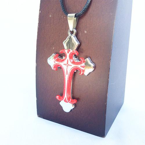 クロス 十字架  トライバル チョーカー ネックレス レッド 赤 RED 1151