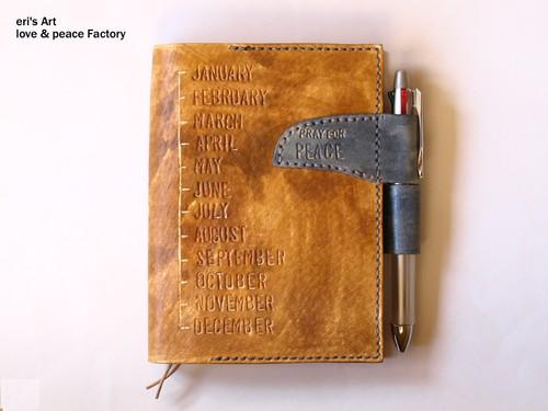 受注休止中【受注生産】手帳カバー03/文庫本サイズ(豚革) ほぼ日手帳オリジナル対応 25カラーパターンからお選び頂けます OD-SC-03-A6p