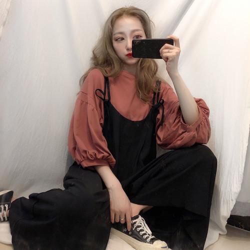 【送料無料】ふんわり可愛いランタンスリーブのトップス☆七分袖