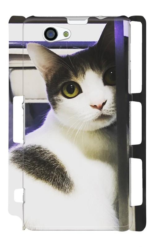 スマホケース Xperia Z1f 振り向き猫