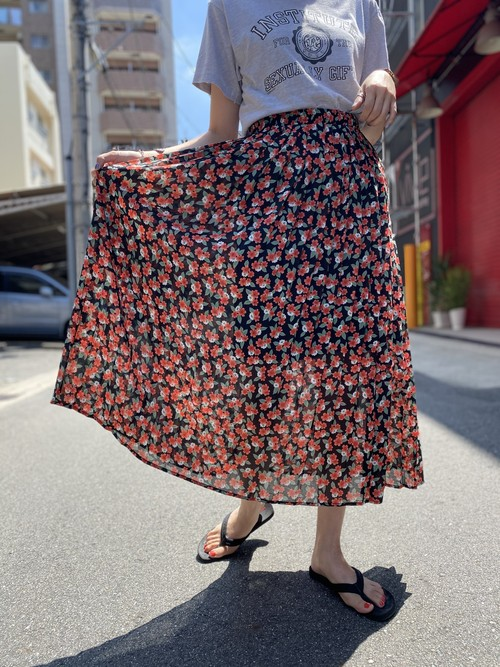 flower pattern pleats skirt  red