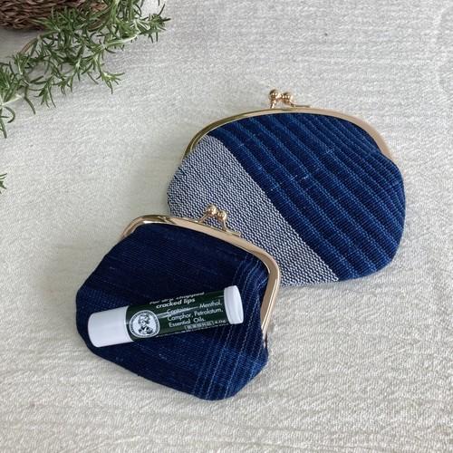 がま口 財布 ポーチ 金具ゴールド 小物入れ 手織り 藍染 草木染め 綿紙布 ハンドメイド 結工房 日本製